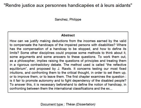 Thèse de doctorat « Rendre justice aux personnes handicapées et à leurs aidants »